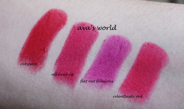 mac retromat rubywoo relentlessly red all fired up flat out fabulous lipstick