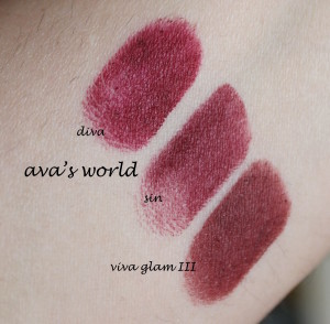 sin swatches comparativi