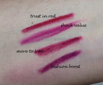 trust in red shock value more to love fashion boost prolongwear lip pencil